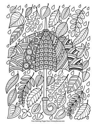 coloring page; fall rainy day