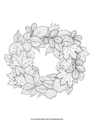 coloring page; fall wreath