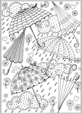 Coloring page; umbrellas in the rain