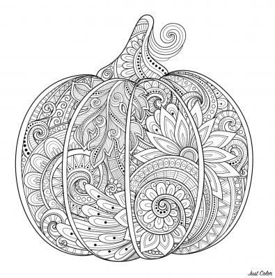 coloring page; single pumpkin