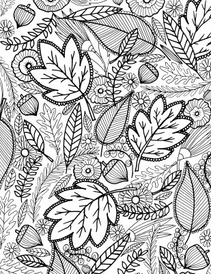 Coloring Page, Fall leaves
