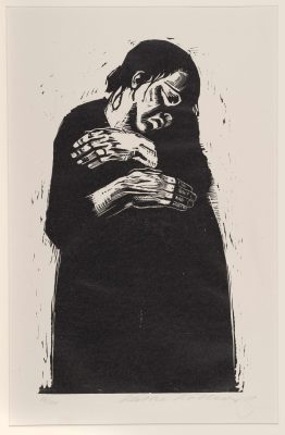 "Work by Käthe Kollwitz titled ""Die Witwe I [The Widow I]"", from Krieg [War] (1922-23). Woodcut."
