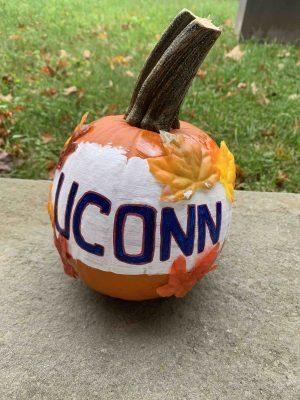 UConn decorated pumpkin