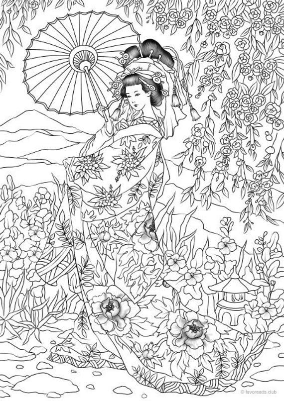 Japanese Woman Coloring Page
