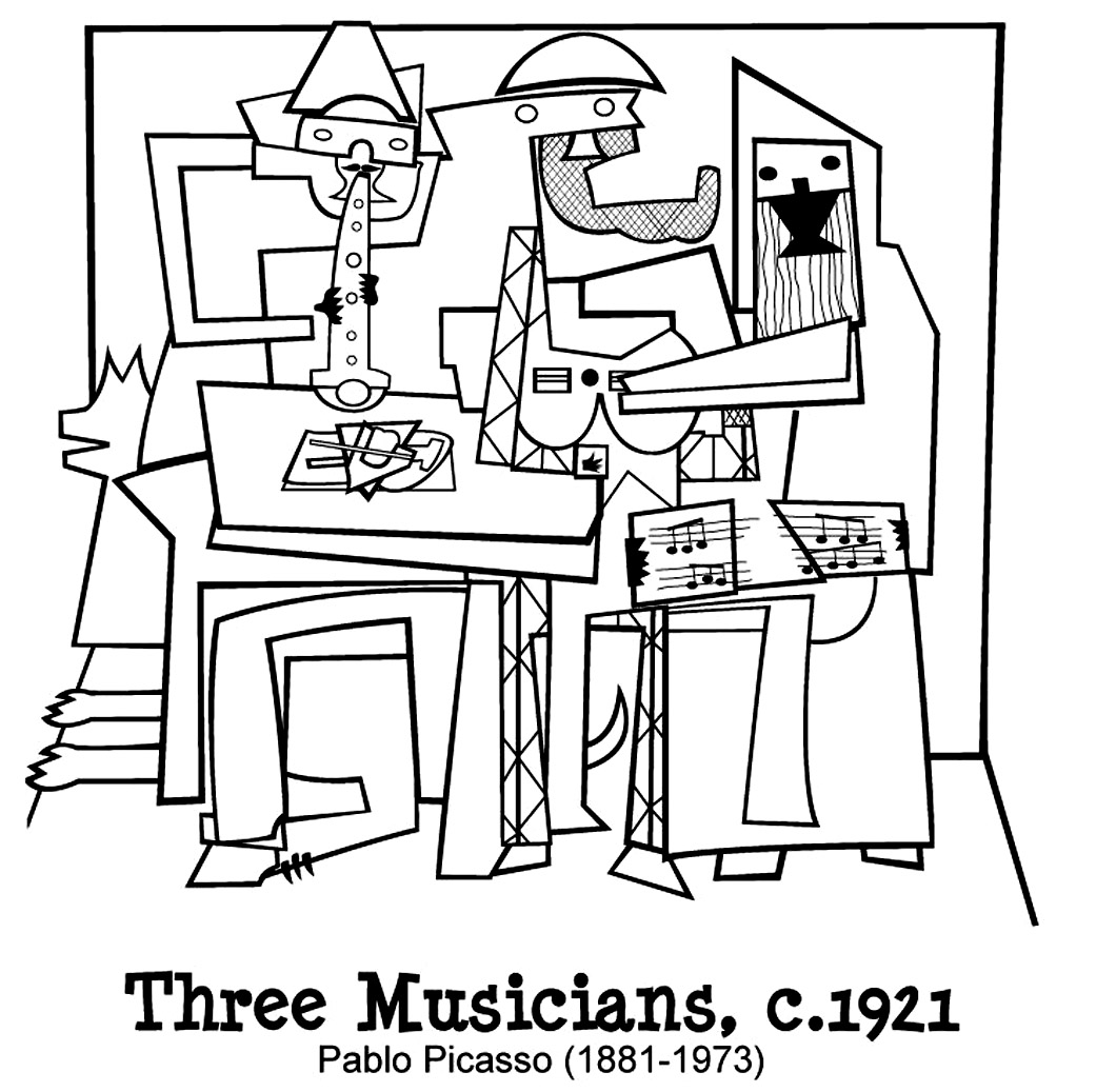 Picasso, three musicians coloring page